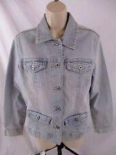 Chico's Platinum Womens Small Sz 0 Light Blue Denim Jean Button Jacket H486
