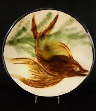 "12"" Majolica PUIGDEMONT Spanish French Ceramic Fish Art Pottery Plate"