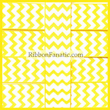 "3 yds 7/8"" Yellow with White Chevron Grosgrain Ribbon"
