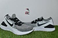 Nike Epic React Flyknit 2 Oreo White Black Pure Platinum BQ8928-101 Men's 8,8.5