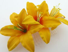 """Triple 3 1/2"""" Canary Yellow Lily Silk Flowers Hair Comb, Bridal,Dance,Wedding"""