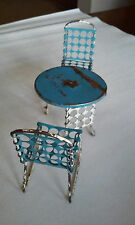 Vintage Miniature Table & Chairs Set Metal Porch Outdoor Child's Dollhouse1950's