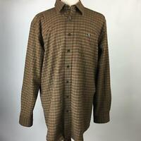 LL Bean Brown Multi Plaid Flannel Button Down Cotton Shirt LS Mens Size L-Tall