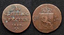 Norvège 1 Shilling 1820 Charles XIV Roi de Suède - Cuivre