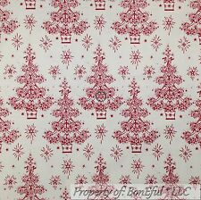 BonEful Fabric FQ Cotton Quilt VTG Maroon Xmas Tree Star Victorian Flower Damask