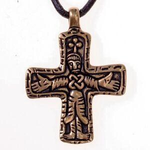 Amulett Kreuz Replik Mittelalter Halskette Wikinger Anhänger Bronze/Versilbert