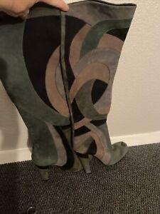 Aldo Patchwork Suede Gold Heel Knee High Boots 35