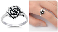 Sterling Silver 925 PRETTY ROSE FLOWER DESIGN SILVER BAND RING 11MM SIZES 5-10
