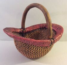 Beautiful Quality Woven Wicker Basket Sturdy Dark Waxed Finish Wood Handle
