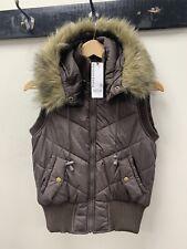 Warehouse Brown Puffer Gilet Body Warmer Size UK 10