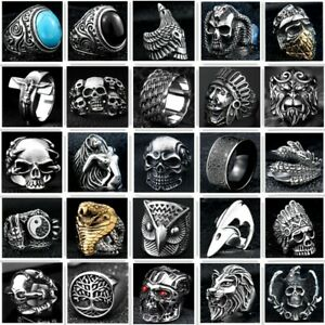 316L Stainless Steel Skull Cool Man Ring Steam Ram Men Punk Rings Gothic Bands