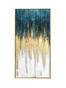 """LL672 Decor art Canvas abstract gold foil oil painting Hand-painted Unframed 48"""""""