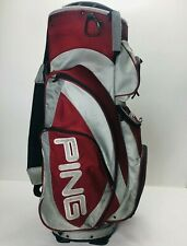 New listing Ping Pioneer LC Cart Carry Golf Bag Red Gray 14 Way Divider Strap Pockets