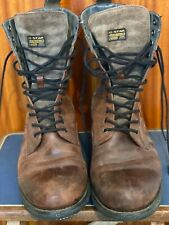 G-STAR RAW LEATHER and SUEDE BROWN MEN'S LACE UP 22 EYELET BOOTS (SIZE 10)