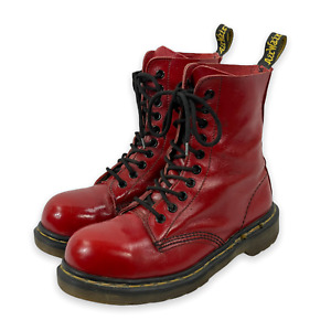 Dr. DOC MARTENS 1919 Red Patent Leather Steel Ankle Boots Sz UK 4 / US 6 UK Made