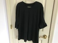 Woman's Denim&Co size large solid black roll sleeve round neck cotton  tunic top
