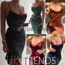 UK Women Satin Cowl Neck Slip Midi Dress Ladies Side Slit Party Evening Size6-14