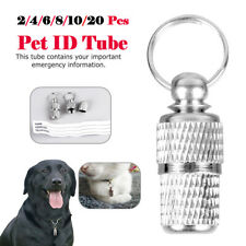 More details for 20pcs cat dog id tube pet name address tags barrel anti lost identity collar uk