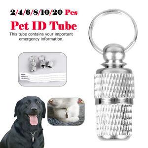 20Pcs Cat Dog ID Tube Pet Name Address Tags Barrel Anti Lost Identity Collar UK