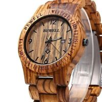 BEWELL Watch Wood Men Date Display Wooden Watches Premium Analog Quarts Gift New