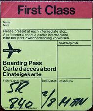 Swissair First Class Boarding Pass