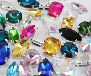 Mixed Shapes Sizes Colors Rhinestone Settings Sew On Crystals Glass