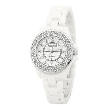 Alias Kim White Ceramic Band Silver Crystal Bezel Women's Bracelet Watch F235