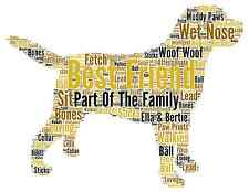 Personalised Word Art Family Pet Dog Birthday Christmas Thankyou Memory Gift