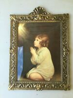Brass Italy Metal Bubble Dome Glass Picture Frame with Praying Child