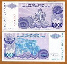 Croatia, Knin 1,000,000 (1000000) Dinara, 1994, P-R33, UNC > Bosnian War