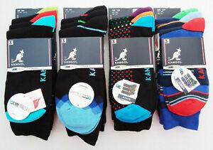 Kangol, Mens, 3 Pair Pack of Socks, Various Patterns, Large, Size 12+, New