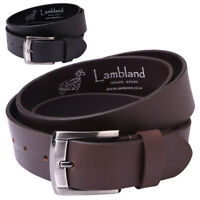 "Mens 35mm 1.25"" Premium Grade Luxury Genuine Real Leather Belt Black Brow"