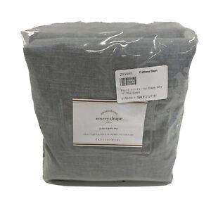 Pottery Barn Emery Linen/Cotton 3-in-1 Poletop Curtain 50x96 Blue DAWN $159