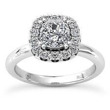 1.5 Ct Cushion Cut Diamond Halo Engagement Ring D SI 14K White Gold
