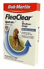 Bob Martin Flea Clear Spot on for Medium Dogs 10 - 20kg Contains Fipronil 3pk