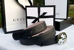 New Authentic Black Gucci Leather Belt Interlocking Double GG Buckle 95 Fits 34