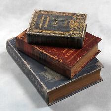 Conjunto de tres cajas de libro de almacenamiento de Estilo Antiguo Decorativo & Práctico