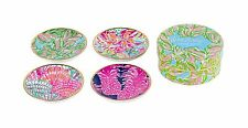 LILLY PULITZER CERAMIC COASTER SET of 4 IN THE BUNGALOWS Cocktail Drink Coasters