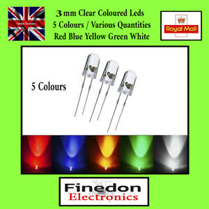 3mm Ultra Bright Water Clear LED Bulb 3V All Colours Light Emitting Diode