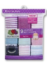 9-Pack Fruit of the Loom Girls Heather Boy Shorts Underwear SIZE 14 Panties