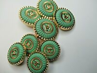 CHANEL BUTTONS lot of  8 GREEN COLOR 22 -16mm   metal GOLD TONE cc logo