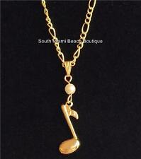 "Gold Pearl Music Note Necklace 18"" Pendant Musician Music Teacher Gift Plated"