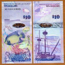 Bermuda, $10, 2009 (2019), Hybrid, P-59, A/1 New Signature, QEII, UNC