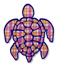 Sea Turtle Sticker Orange Pink Seersucker Pattern Waterproof Vinyl Decal 4""