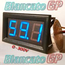 VOLTMETRO DIGITALE 0-300V DC LED BLU tensione tester pannello auto moto camper