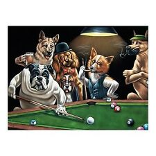 Dogs playing pool black velvet oil painting original signed art 24 by 36 inches