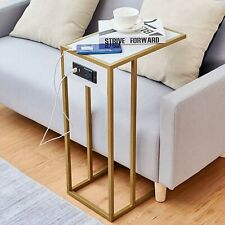 ANTON Living Room Side Table, Sofa Table, End Table/w USB Ports & Power Outlet