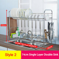 64/84CM Over Sink Dish Drying Rack Stainless Steel Kitchen Cutlery Shelf Holder