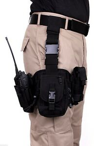 tactical drop leg utility rig modular pouches molle black rothco 10750