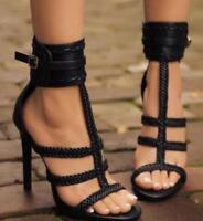 Womens Sexy Buckle T-strap Open Toe Sandals High Heels Stilettos Roman Shoes Hot